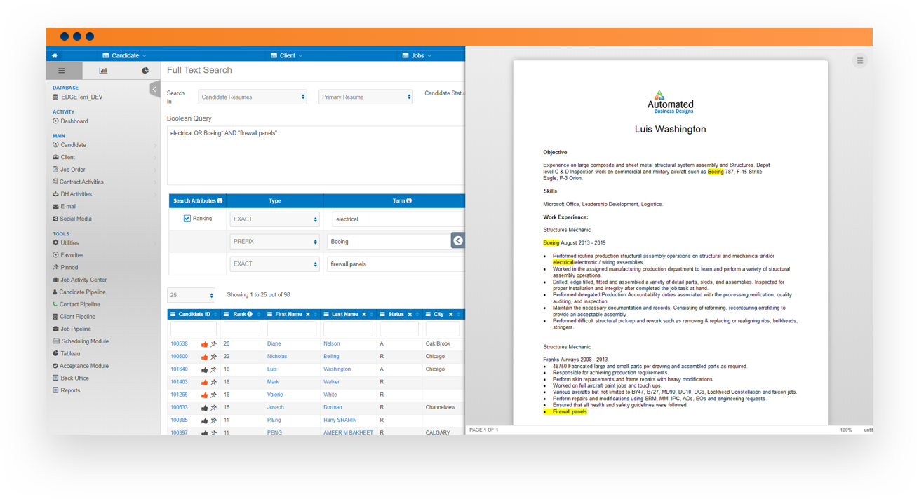Software screenshot of resume import feature