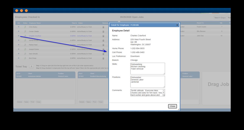 Software screenshot illustrating labor dispatch module functionality