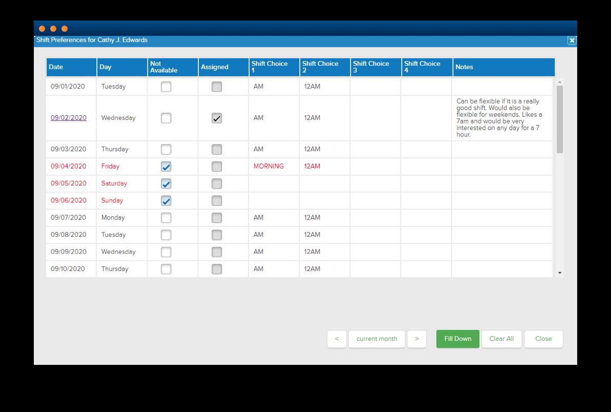 Software screenshot displaying schedule prioritization functionality