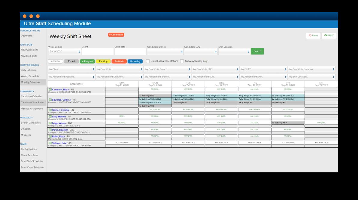 Software screenshot of weekly scheduling module