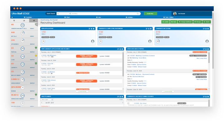 Software screenshot of custom recruiting dashboard