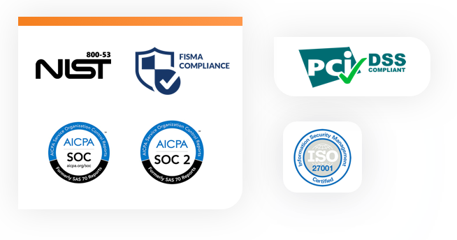 Collection of cloud hosting security certification logos